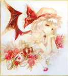 1girl acrylic_paint_(medium) arm_support bat_wings brooch chain crown cup flower food fork fruit hands_together hat hat_ribbon head_rest jewelry keiko_(mitakarawa) looking_at_viewer lying mob_cap on_stomach pocket_watch puffy_short_sleeves puffy_sleeves red_eyes red_rose remilia_scarlet ribbon rose saucer shikishi short_hair short_sleeves silver_hair skirt skirt_set smile solo strawberry teacup teaspoon touhou traditional_media watch watercolor_(medium) white_background wings