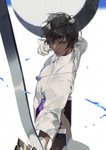 1boy arjuna_(fate/grand_order) bangs black_hair bow_(weapon) commentary_request dark_skin dark_skinned_male drawing_bow fate/grand_order fate_(series) from_side gloves hair_between_eyes hands_up holding holding_bow_(weapon) holding_weapon long_sleeves looking_afar looking_away looking_to_the_side male_focus outstretched_arm parted_lips pelvic_curtain quiver rei_(sanbonzakura) serious shiny shiny_hair shirt solo turtleneck v-shaped_eyebrows weapon white_gloves white_shirt