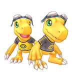 3d agumon aiba_ami_(cosplay) aiba_takumi_(cosplay) black_shirt cel_shading claws clothes_writing creature digimon digimon_story:_cyber_sleuth game_model goggles goggles_on_head green_eyes no_humans official_art open_mouth print_shirt raglan_sleeves shirt simple_background teeth tongue yellow_shirt
