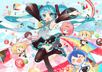 2boys 4girls aqua_eyes aqua_hair armpits arms_up black_legwear blonde_hair blue_hair blush_stickers boots brown_hair chibi detached_sleeves floating_hair hair_ornament hair_ribbon hairclip hatsune_miku headset kagamine_len kagamine_rin kaito long_hair looking_at_viewer mao_yu megurine_luka meiko multiple_boys multiple_girls necktie open_mouth pink_hair ribbon roller_skates short_hair shorts siblings skates smile thigh_boots thighhighs twintails very_long_hair vocaloid