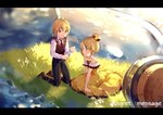 1boy 1girl allen_avadonia bare_arms bare_shoulders black_neckwear blonde_hair blue_eyes blurry blush bottle brother_and_sister brown_footwear collarbone commentary_request cork corked_bottle daisy depth_of_field dress evillious_nendaiki flat_chest flower frilled_dress frills grass hair_bun hair_ornament hairclip highres hmniao holding holding_bottle in_bottle in_container kagamine_len kagamine_rin kneeling light_particles message_in_a_bottle necktie ocean paper regret_message_(vocaloid) riliane_lucifen_d'autriche shirt shoes short_hair siblings sleeveless sleeveless_blazer sleeveless_dress smile song_name sparkle sparkle_background sunset twilight twins vocaloid water_surface white_flower white_shirt yellow_dress younger