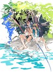 2boys barefoot cloak cu_chulainn_alter_(fate/grand_order) fate/grand_order fate_(series) fishing fishing_rod fujimaru_ritsuka_(male) lancer male_focus multiple_boys open_clothes open_mouth plant shade sitting tatsuta_age tree water