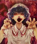 1girl bangs blue_hair commentary_request dress fangs fingernails hands_up hat horror_(theme) looking_at_viewer meiji_(charisma_serve) mob_cap nail_polish open_mouth pointy_ears red_background red_eyes red_nails remilia_scarlet sharp_fingernails short_hair short_sleeves solo tongue tongue_out touhou vampire white_dress wing_collar