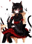 1girl absurdres animal_ear_fluff animal_ears artist_name bangs black_hair black_hairband black_legwear black_shirt bow brooch bug butterfly cat_ears cat_tail chair commentary cropped_legs cup earrings eyebrows_visible_through_hair eyelashes flower frilled_sleeves frills gothic_lolita hair_between_eyes hairband hand_up high-waist_skirt highres holding holding_cup insect jewelry juliet_sleeves lolita_fashion lolita_hairband long_sleeves looking_at_viewer nail_polish one_eye_closed original pantyhose petals petticoat puffy_sleeves red_bow red_eyes red_flower red_nails red_rose red_skirt rose rose_petals sheya shirt short_hair signature simple_background sitting skirt solo spade_(shape) table tail teacup white_background wide_sleeves