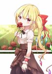 1girl absurdres alternate_costume arm_at_side arm_up black_neckwear blonde_hair blouse bow breasts brown_skirt cloud covering_mouth cowboy_shot crystal eyebrows_visible_through_hair flandre_scarlet flower from_side hair_between_eyes hair_bow head_tilt highres holding holding_flower iyo_(ya_na_kanji) layered_skirt light_rays neck_ribbon no_hat no_headwear pointy_ears puffy_short_sleeves puffy_sleeves red_eyes red_flower red_rose ribbon rose short_hair short_sleeves side_ponytail skirt small_breasts solo standing sunbeam sunlight touhou white_blouse wings wrist_cuffs yellow_sky