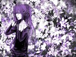 1boy black_eyes flower gloves heterochromia highres kamui_gakupo long_hair male_focus monochrome ponytail purple purple_eyes purple_hair solo vocaloid yokan