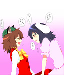 2girls animal_ears black_hair brown_hair bunny_ears cat_ears chen closed_eyes comic enami_hakase hat inaba_tewi multiple_girls open_mouth red_eyes short_hair touhou translated you_gonna_get_raped