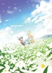 2girls animal_ears backpack bag black_gloves black_hair blonde_hair blue_sky blush cloud commentary day elbow_gloves english field flower flower_field futa_(ceramic_cover) gloves hair_between_eyes hat hat_feather highres kaban kemono_friends lucky_beast_(kemono_friends) multicolored_hair multiple_girls nature open_mouth outdoors safari_hat serval_(kemono_friends) serval_ears serval_tail shirt short_hair shorts skirt sky t-shirt tail thighhighs translated wavy_hair