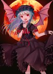 1girl alternate_hair_length alternate_hairstyle bat_wings black_dress black_hat dress eyebrows_visible_through_hair floating_hair frilled_dress frills full_moon gothic_lolita hat lolita_fashion long_hair looking_at_viewer moon nail_polish open_mouth red_eyes red_moon red_nails remilia_scarlet sakipsakip shiny shiny_hair short_sleeves silver_hair solo touhou wings wrist_cuffs