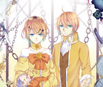 1boy 1girl 9981_n absurdres ahoge aku_no_meshitsukai_(vocaloid) aku_no_musume_(vocaloid) allen_avadonia anniversary blonde_hair blue_eyes bracelet brother_and_sister chain dress earrings evillious_nendaiki flower gradient_hair hair_flower hair_ornament hair_ribbon hairpin highres jacket jewelry kagamine_len kagamine_rin katana knife long_sleeves looking_at_viewer message_in_a_bottle mirror multicolored_hair nail_polish popped_collar re_birthday_(vocaloid) regret_message_(vocaloid) ribbon riliane_lucifen_d'autriche rose short_hair siblings smile sword twins vest vocaloid weapon yellow_flower yellow_nails yellow_rose