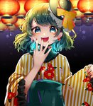 1girl :d bangs black_background black_hat blue_eyes bow chin_strap commentary_request earrings eyebrows_visible_through_hair floral_print frilled_shirt_collar frilled_sleeves frills gradient gradient_background green_hair green_hakama hakama hand_up hat hat_bow highres japanese_clothes jewelry kimono komeiji_koishi lantern long_sleeves looking_at_viewer mini_hat nail_polish open_mouth paper_lantern purple_background red_bow red_nails smile solo striped suzune_hapinesu swept_bangs touhou upper_body vertical-striped_kimono vertical_stripes white_kimono wide_sleeves yellow_bow yellow_kimono