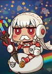 1girl altera_(fate) altera_the_santa april_fools cane chibi earmuffs fake_facial_hair fake_mustache fate/grand_order fate_(series) gift holding mittens navel official_art rainbow red_eyes red_footwear riding riyo_(lyomsnpmp) sheep short_hair sitting snowman star veil white_hair