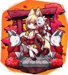 1girl animal_ear_fluff animal_ears bare_shoulders blonde_hair blush borrowed_character chibi commentary_request detached_sleeves eyebrows_visible_through_hair fox_ears fox_tail fukurou_(owl222) highres inari japanese_clothes kemomimi-chan_(naga_u) leaf long_sleeves looking_at_viewer miko orange_background original parted_lips red_eyes sandals solo standing standing_on_one_leg statue tail thighhighs torii tree white_legwear wide_sleeves