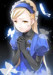 1girl absurdres bangs black_background black_gloves blonde_hair blue_hairband butterfly_hair_ornament elbow_gloves gloves hair_ornament hairband hands_clasped highres lavenza long_hair own_hands_together parted_bangs parted_lips persona persona_5 short_sleeves solo tears upper_body very_long_hair yellow_eyes yft000