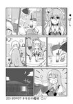alcohol bottle closed_eyes comic crescent_moon cup dated drawer drinking_glass eyebrows_visible_through_hair greyscale hat kantai_collection ma_rukan mini_hat monochrome moon night night_sky open_mouth pola_(kantai_collection) sky smile solid_oval_eyes sweat table thick_eyebrows translation_request trembling wine wine_bottle wine_glass zara_(kantai_collection)