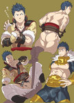 1boy arm_belt arm_guards armor ass bara belt blood bloody_nose blue_hair blush boots censored collarbone cosplay covering_mouth cropped_legs eudes_(fire_emblem) fire_emblem fire_emblem:_kakusei frown fundoshi fur_trim hands_on_hips holding_sword holding_weapon injury jewelry knee_boots looking_to_the_side male_focus male_pubic_hair multiple_persona muscle neck_ring nezumi_ranna panties pants pubic_hair sheath short_hair smirk surprised sweatdrop sword testicles torn_clothes torn_panties underwear unsheathing weapon