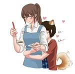 2girls animal_ears apron back_kiss black_hair blush brown_hair closed_eyes commentary_request cooking cropped_torso dog_ears dog_tail extra_ears heart height_difference holding hug hug_from_behind kemonomimi_mode kiss komano_hina ladle long_hair multiple_girls okujou_no_yurirei-san open_mouth rin.hayashiki short_hair short_sleeves simple_background sleeves_rolled_up tail toomi_yuna white_background yuri