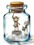 1boy 1girl barefoot bomb bottle box brown_hair chibi cork crate glass horns ico ico_(character) in_bottle in_container jar tabard takitate white_hair yorda