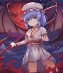 1girl absurdres bangs bat_wings black_wings blue_hair blush bow closed_mouth cloud commentary_request cravat eyebrows_visible_through_hair frilled_shirt_collar frilled_sleeves frills hair_between_eyes hand_on_own_chest hat hat_ribbon highres holding holding_spear holding_weapon kjg720915 looking_at_viewer medium_hair mob_cap moon night night_sky polearm puffy_short_sleeves puffy_sleeves red_bow red_eyes red_moon red_ribbon remilia_scarlet ribbon ribbon_trim sash short_sleeves skirt skirt_set sky slit_pupils solo spear spear_the_gungnir star_(sky) torn_wings touhou weapon wing_collar wings wrist_cuffs
