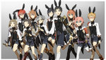 6+boys :> akita_toushirou alternate_costume animal_ears armor atsushi_toushirou black_gloves black_hair black_legwear blonde_hair blue_eyes brown_eyes brown_hair bunny_ears bunny_tail cape closed_eyes crossdressing dress glasses gloves gokotai gotou_toushirou green_eyes grey_eyes hair_over_one_eye hakata_toushirou hirano_toushirou japanese_armor kneehighs legwear_under_shorts maeda_toushirou male_focus midare_toushirou multiple_boys necktie open_mouth otoko_no_ko pantyhose pink_hair red-framed_glasses red_hair shinano_toushirou shorts silver_hair smile sode tail thighhighs tobacco_(artist) touken_ranbu white_legwear yagen_toushirou
