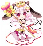 1girl animal_ears bangs black_bow black_ribbon bow bunny_ears chibi cloak closed_mouth commentary_request crossed_arms dress eyebrows_visible_through_hair flower full_body fur-trimmed_cloak fur_trim hair_between_eyes hair_bow hair_ornament heart heart_hair_ornament holding holding_staff long_hair original pink_dress pink_hair pleated_skirt red_cloak red_eyes red_flower red_ribbon red_rose ribbon rose shikito sidelocks simple_background skirt smile solo sparkle staff thighhighs toeless_legwear white_background white_legwear yellow_bow yellow_skirt