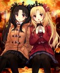 2girls :o autumn autumn_leaves bangs black_eyes black_hair black_ribbon black_skirt blonde_hair blue_skirt blush brown_coat brown_scarf coat coffee_cup commentary cup day disposable_cup duffel_coat ereshkigal_(fate/grand_order) fate/grand_order fate_(series) feet_out_of_frame hair_ribbon hands_in_pockets holding holding_cup ishtar_(fate/grand_order) long_hair long_sleeves looking_at_viewer miniskirt multiple_girls on_bench open_mouth outdoors parted_bangs parted_lips plaid plaid_scarf plaid_skirt pleated_skirt red_coat red_eyes red_ribbon ribbon scarf sitting skirt symbol_commentary tareme tiara very_long_hair yimu