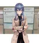 1girl alternate_costume alternate_hairstyle bangs black_pants black_sweater blue_eyes blue_hair brown_coat coat commentary_request cowboy_shot crossed_arms gotland_(kantai_collection) green_nails hair_bun highres jewelry kantai_collection long_hair looking_at_viewer mole mole_under_eye nail_polish pants photo_background ring sidelocks sign solo standing subway_station sweater tifg39 tokyo_metro train_station wedding_band