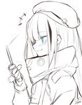 /\/\/\ 1girl bangs beret blue_eyes cellphone eyebrows_visible_through_hair flip_phone girls_frontline gloves greyscale grin hat long_hair long_sleeves mdr_(girls_frontline) monochrome multicolored_hair phone sidelocks signature simple_background sketch smile smirk solo spot_color streaked_hair tosyeo
