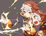 1boy 1girl closed_mouth commentary_request electricity female_my_unit_(fire_emblem:_kakusei) fire_emblem fire_emblem:_kakusei grey_background long_sleeves male_my_unit_(fire_emblem:_kakusei) my_unit_(fire_emblem:_kakusei) open_mouth robe short_hair shunrai simple_background twintails white_hair