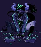 1boy asymmetrical_clothes asymmetrical_pants baseball_cap black_sclera docu_(doppel) doppel_(pixiv) face_mask fingerless_gloves gloves green_eyes hat highres horns looking_at_viewer male_focus mask monster_boy original pointy_ears shoes sneakers solo tail