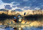 artist_name bird boat cape chinese_clothes cloud cloudy_sky commentary cormorant english_commentary hat highres holding lantern light_particles mclelun no_humans original outdoors panda pants red_cape reflection rice_hat river shirt sky solo standing stick watercraft