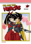 1boy 1girl balloon beat_(dragon_ball) black_eyes black_hair bow breasts cape carrying commentary_request cover cover_page dougi doujin_cover doujinshi dragon_ball dragon_ball_heroes elbow_gloves fingerless_gloves flying gloves hair_bow hair_ribbon heart_balloon karoine looking_at_another medium_breasts note_(dragon_ball) ponytail princess_carry ribbon saiyan source_request spiked_hair tail thighhighs