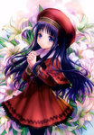 1girl absurdres beret black_hair black_legwear blush capelet cardcaptor_sakura closed_mouth cowboy_shot daidouji_tomoyo dress eyebrows_visible_through_hair floral_background flower from_side goto_p hands_clasped hat highres lily_(flower) long_hair long_sleeves own_hands_together purple_eyes red_dress red_hat scan smile solo very_long_hair