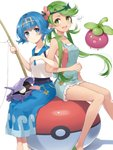 2girls :d bangs bare_shoulders blue_eyes blue_hair blue_pants blush bounsweet capri_pants closed_mouth commentary_request eyebrows_visible_through_hair fishing_rod flower gen_1_pokemon gen_7_pokemon green_eyes green_hair hair_flower hair_ornament hairband highres holding holding_fishing_rod locked_arms long_hair looking_at_viewer mao_(pokemon) multiple_girls one-piece_swimsuit open_mouth overall_shorts overalls pants poke_ball poke_ball_(generic) pokemon pokemon_(creature) pokemon_(game) pokemon_on_lap pokemon_sm rupinesu shellder short_hair short_shorts shorts signature simple_background sitting sleeveless smile suiren_(pokemon) swept_bangs swimsuit swimsuit_under_clothes trial_captain twintails white_background