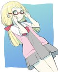 1girl absurdres adjusting_eyewear blonde_hair closed_mouth commentary_request dress glasses green_eyes highres lillie_(pokemon) long_hair peppedayo_ne pokemon pokemon_(anime) pokemon_sm_(anime) red-framed_eyewear school_uniform short_dress short_sleeves simple_background smile solo white_background