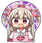 1girl :d apron bangs breast_mousepad bunny_hair_ornament chibi collared_shirt commentary eyebrows_visible_through_hair fang flat_chest hair_ornament heart kanikama long_hair looking_at_viewer lowres mousepad natori_sana open_mouth pink_apron puffy_short_sleeves puffy_sleeves red_eyes sana_channel shirt short_sleeves smile solo two_side_up white_shirt