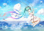 1girl absurdly_long_hair absurdres bangs bare_arms bare_legs bare_shoulders barefoot beamed_quavers blue_hair blue_sky bubble closed_mouth cloud commentary_request day dress eyebrows_visible_through_hair flower gradient_hair green_eyes green_hair hair_between_eyes hair_flower hair_ornament hatsune_miku highres long_hair looking_at_viewer looking_to_the_side multicolored_hair musical_note outdoors pink_flower pink_hair quaver see-through sidelocks sitting sky sleeveless sleeveless_dress smile solo strap_slip swing twintails very_long_hair vocaloid white_dress yiyu_qing_mang