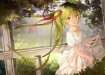 1girl black_hair dress eyebrows_visible_through_hair floating_hair green_eyes green_hair hair_ribbon hatsune_miku highres kilo_(pixiv) long_hair looking_at_viewer open_mouth outdoors ribbon skirt_hold solo tree twintails very_long_hair vocaloid white_dress
