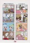 4koma 6+girls animal_ears bow bread cat_ears cat_tail chen cirno comic daiyousei drawer drooling eating flower food fox_ears fox_tail futon hair_bow hair_ornament hairclip hat highres ice ice_wings karaagetarou multiple_4koma multiple_girls scan scan_artifacts shameimaru_aya side_ponytail sleeping sunny_side_up_egg sweatdrop tail television touhou translation_request tree_stump wings yakumo_ran yakumo_yukari