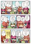 4girls alternate_costume animal_ears aqua_hair blue_eyes comic curled_horns day dragon_girl dragon_horns dragon_tail elizabeth_bathory_(fate) elizabeth_bathory_(fate)_(all) fate/grand_order fate_(series) fox_ears fox_tail fujimaru_ritsuka_(female) hawaiian_shirt high_ponytail highres horns kiyohime_(fate/grand_order) lamia long_hair monster_girl multiple_girls orange_eyes orange_hair outdoors pink_hair pointy_ears riyo_(lyomsnpmp) shirt sky smile speech_bubble tail tamamo_(fate)_(all) tamamo_no_mae_(fate) thought_bubble translated tropical_summer two_side_up yellow_eyes
