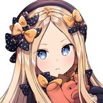 1girl abigail_williams_(fate/grand_order) bangs black_bow black_headwear blue_eyes bow fate/grand_order fate_(series) frown hair_bow hat holding holding_stuffed_animal looking_at_viewer multiple_hair_bows orange_bow parted_bangs polka_dot polka_dot_bow portrait simple_background solo ssumbi stuffed_animal stuffed_toy white_background