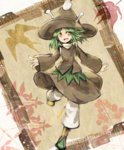amanomori_shou androgynous anmita_(rarutos) antennae boots green_eyes green_hair hat len'en open_mouth short_hair smile solo