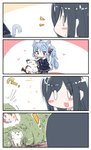 ! 0_0 3girls 4koma :d ? animal animal_ear_fluff animal_ears asashio_(azur_lane) asashio_(kantai_collection) azur_lane bangs batsubyou black_hair blue_eyes blue_hair blue_ribbon blue_skirt blue_sweater blush_stickers braid brown_legwear bush cat cat_ears cat_girl cat_tail collared_shirt comic commentary_request crossover error_musume eyebrows_visible_through_hair flower girl_holding_a_cat_(kantai_collection) hair_flower hair_ornament hair_ribbon hairclip heart highres kantai_collection kneeling light_brown_hair long_hair multiple_girls namesake open_mouth pantyhose partial_commentary petting pleated_skirt red_flower ribbon school_uniform shirt silent_comic skirt smile sweater tail v-shaped_eyebrows very_long_hair white_shirt yagami_kamiya