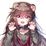 1girl :d animal_ear_fluff animal_ears bangs black_collar blush brown_hair claw_pose collar collarbone commentary_request dress eyebrows_visible_through_hair fang fingernails grey_sweater hair_between_eyes long_hair mechuragi open_mouth raccoon_ears raphtalia red_dress red_eyes ribbed_sweater simple_background smile solo sweater tate_no_yuusha_no_nariagari upper_body white_background