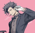 1boy artist_name black_neckwear black_suit bow bowtie brown_shirt cane cigarette clenched_teeth earrings facial_hair gloves granblue_fantasy hand_up jewelry long_sleeves male_focus mouth_hold pink_background rackam_(granblue_fantasy) shirt smoking solo stubble stud_earrings teeth upper_body white_gloves yoisho_(yoisyoisyo)