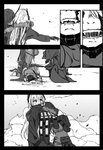 blood comic commentary_request damaged fangs_out girls_frontline gz_(gzdteee) headset hug jumpsuit m4_sopmod_ii_(girls_frontline) m4a1_(girls_frontline) mechanical_arm monochrome parts_exposed reaching scar seiza silent_comic sitting spoilers