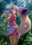 1girl absurdres animal_ears arm_up ass bangs blonde_hair bow bowtie clenched_hands commentary_request day extra_ears fennec_(kemono_friends) fisheye forest fox_ears fox_tail from_behind fur-trimmed_sleeves fur_trim furrowed_eyebrows gloves hand_up highres kemono_friends light_rays lips long_sleeves looking_afar looking_back medium_hair miniskirt moss multicolored_hair nature outdoors parted_lips pink_sweater plant red_eyes short_over_long_sleeves short_sleeves skirt solo standing sunbeam sunlight sweater tail takami_masahiro thighhighs tree twisted_torso upper_teeth water water_drop white_hair white_skirt yellow_legwear