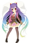1girl absurdres animal_ears bunny_ears full_body gradient_hair highres long_hair multicolored_hair purple_hair red_eyes reisen_udongein_inaba skirt solo standing sukage thighhighs touhou transparent_background zettai_ryouiki