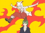 2girls aharan antennae bad_id bad_pixiv_id boots brown_eyes cape expressionless fujiwara_no_mokou green_hair multiple_girls on_head outstretched_arms pants pose reverse_trap spread_arms suspenders tomboy touhou tsurime white_hair wriggle_nightbug