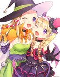 2girls ;d bangs black_choker black_dress black_gloves blonde_hair blush bow braid breasts candy candy_cane cape choker cleavage clock collarbone demon_horns demon_wings dragon_quest dragon_quest_xi dress elbow_gloves eyebrows_visible_through_hair fake_horns fang food gloves green_dress hairband halloween halloween_costume hat hat_bow horns kz_ripo medium_breasts mini_hat mini_top_hat multiple_girls one_eye_closed open_mouth orange_cape orange_gloves orange_ribbon purple_eyes purple_wings ribbon sash senya_(dq11) siblings simple_background sisters smile star straight_hair top_hat twin_braids twitter_username veronica_(dq11) white_background wings witch_hat
